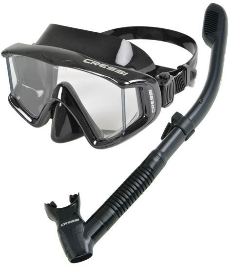 Masker Cressi cressi panoramic scuba snorkeling mask snorkel set kirk
