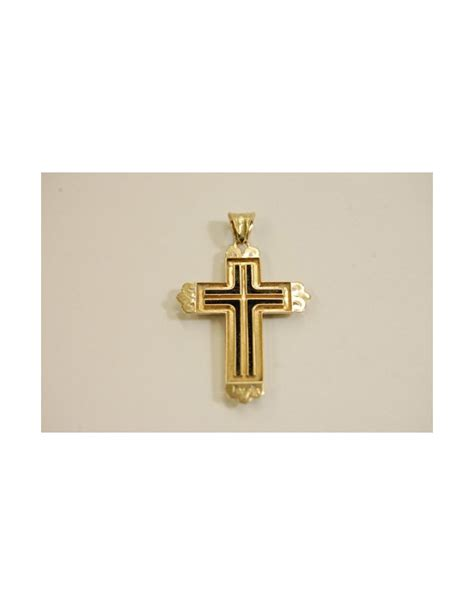 14k yellow gold painted 1940 s vintage cross pendant