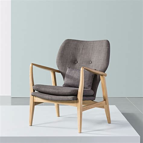 armchair design franz armchair solid oak light grey fabric icon by