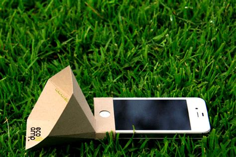 things made out of recycled materials the eco amp is a low cost iphone speaker made from