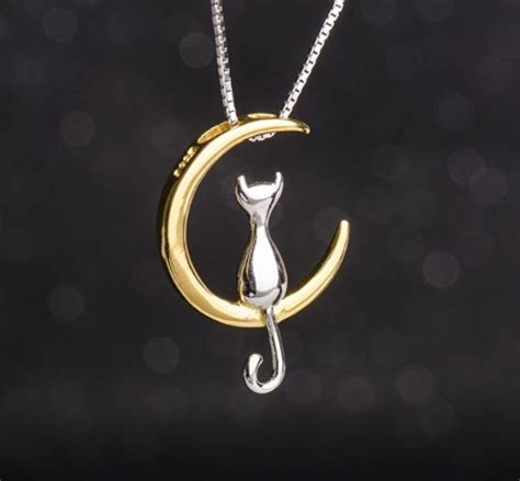 Moon And Cat Necklace s leaf cat moon necklace sterling silver cat and moon