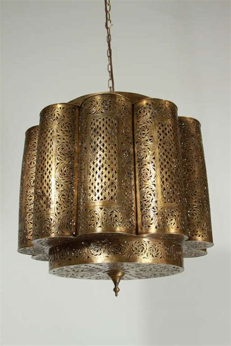 Large Moroccan Chandelier Large Pierced Brass Moroccan Chandelier In Alberto Pinto Style At 1stdibs