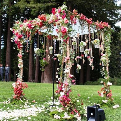 Pink Floral Garden Inspired Outdoor Wedding Ceremony Amy Flower Garden Wedding