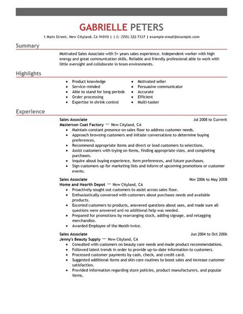 Resume Formats Sles by Sales Associate Resume Sle My Resume