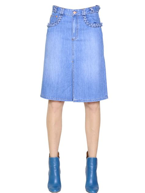 see by chlo 233 stretch cotton denim skirt in blue lyst