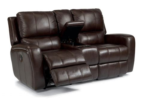 leather loveseat recliner with console flexsteel living room leather power reclining loveseat