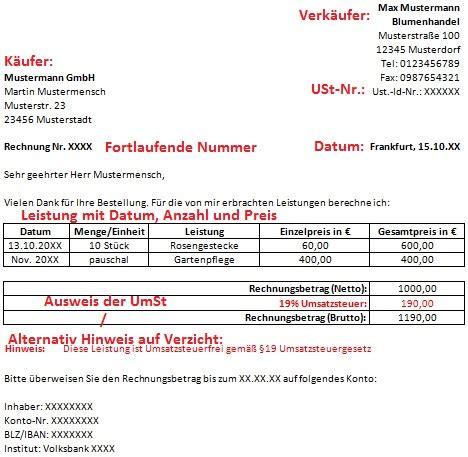 Musterrechnung Kleingewerbe Umsatzsteuerbefreiung Kleingewerbe Rechnung Gratis Excel Word Musterrechnung
