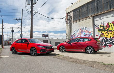 subaru honda 2017 honda civic hatchback vs 2017 subaru impreza 5 door