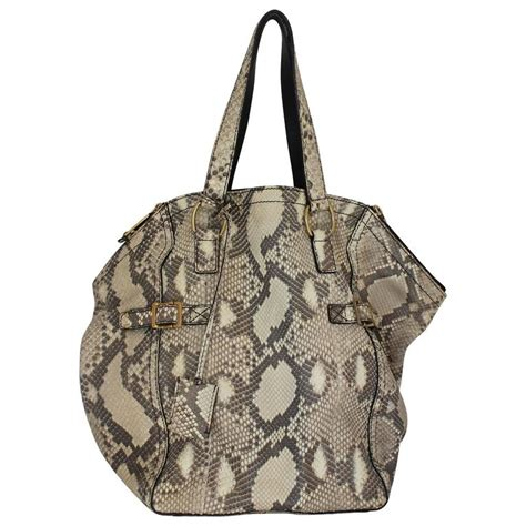 Ysl Rive Gauche Tote by Ysl Rive Gauche Earthtone Python Large Downtown Tote Ghw