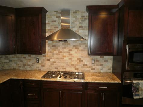 tumbled travertine backsplash traditional kitchen solarius slab and tumbled travertine