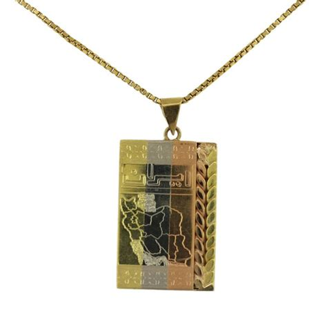 18k tri color gold iran map pendant and chain necklace
