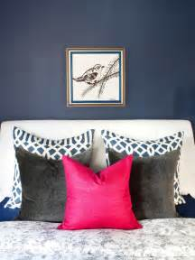 navy and pink bedroom design trend decorating with blue color palette and