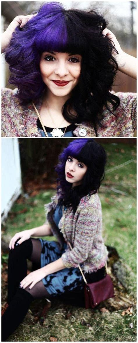 black n purple hair the gallery for gt black with purple the gallery for gt half purple and half black hair