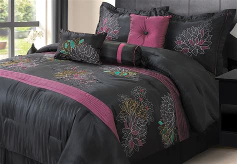 Purple And Black Bedding by 7pcs Alexandra Black And Purple Comforter Set Ebay