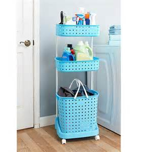 blue 3 tier rolling laundry storage cart basket bin sorter