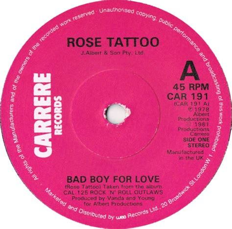 rose tattoo bad boy for love 45cat bad boy for tr carrere