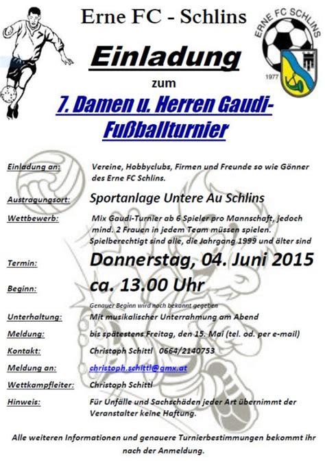 Muster Einladung Fußballturnier Erne Fc Schlins 7 Damen U Herren Gaudi Fu 223 Ballturnier