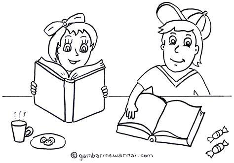 mewarnai gambar anak membaca buku gambar mewarnai
