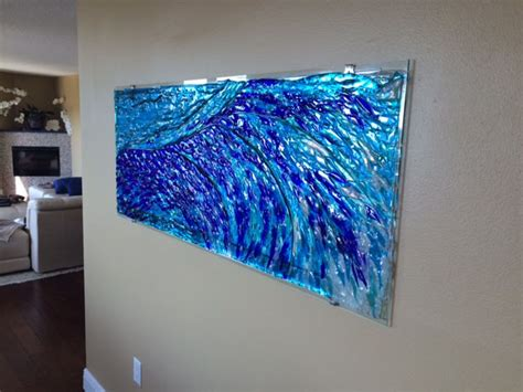 Beach Home Decorating Ideas Fused Glass Quot Wave Quot Mural Designer Glass Mosaics