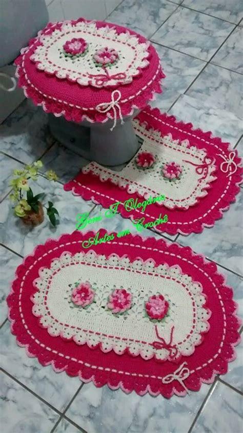 croche oval bico duplo tapete com flores jogo de banheiro croche oval jogo de banheiro croch 234 oval bico duplo geni t oleg 225 rio