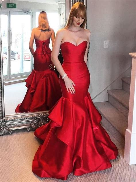 mermaid prom dresses sweetheart simple red prom dress
