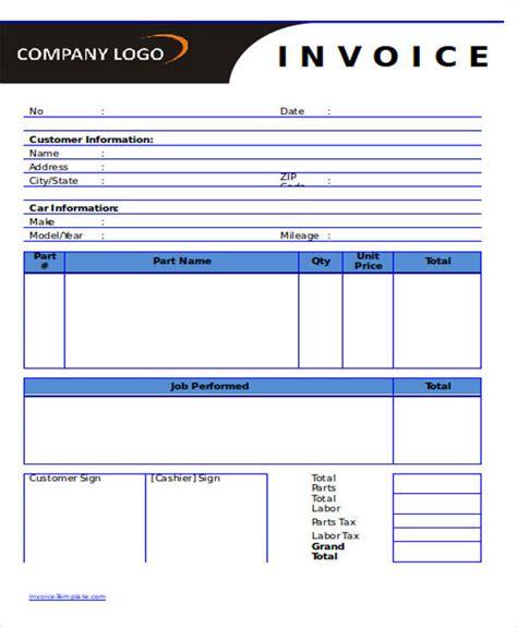 6 auto repair invoice template sle auto repair invoice 6 exles in pdf word excel