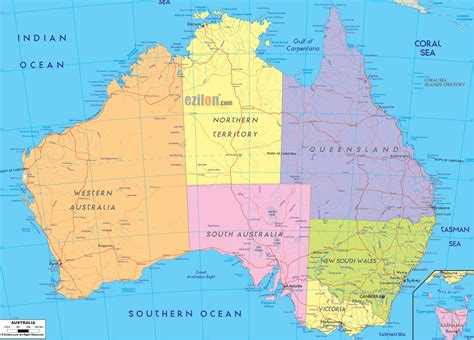 astrelia map detailed political map of australia ezilon maps