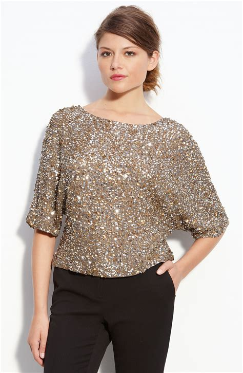 womens beaded tops vince camuto wedge sequin top in gold lyst