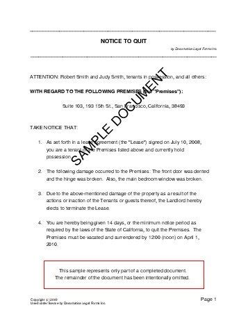 template of notice to quit notice to quit united kingdom templates agreements contracts and forms