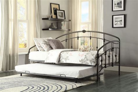 Metal Daybed With Trundle Ruby Rustic Metal Daybed With Trundle From Homelegance 4962db Nt Coleman Furniture