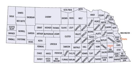 nebraska county map nebraska county map