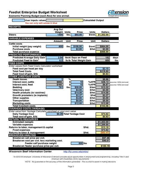 Cow Calf Operation Spreadsheet by Decision Tools For Feeding Cattle Wi Beef