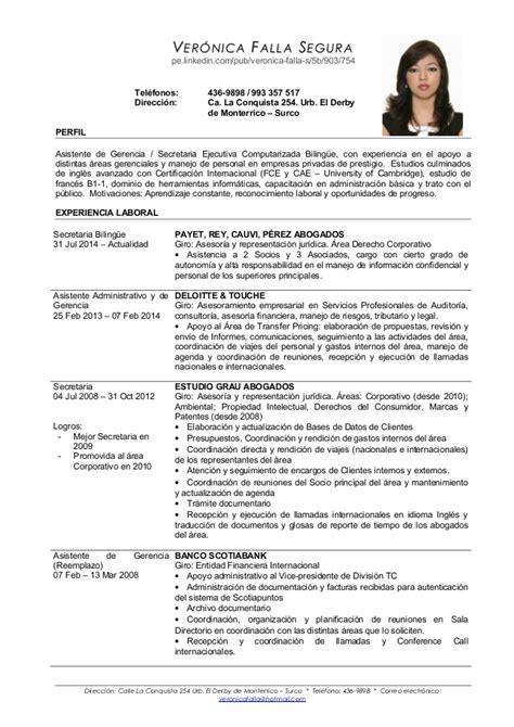 Modelo Curriculum Vitae Secretaria Administrativa Cv Falla Espanol