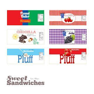 Sweet Sandwiches Peanut Butter Jelly Templates By Toni Ellison Printables Pinterest Peanut Butter Label Template