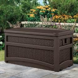 Suncast Resin Wicker Deck Box 22 Gallon Suncast Dbw7500 Resin Wicker Deck Box With Seat Java