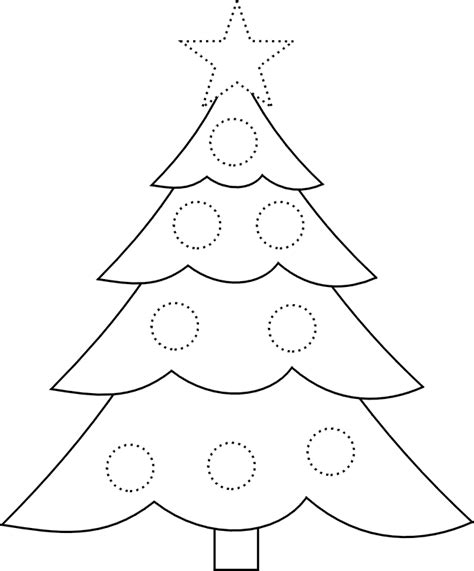 preschool coloring page of a tree traceable christmas tree picture star and circles