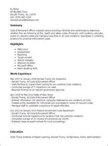 Enforcement Resume Template by Professional Code Enforcement Officer Templates To