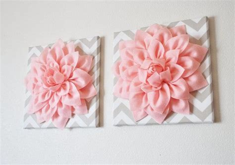 blooms of dahlia barbie bedroom decor two wall flowers light pink dahlia on taupe and white