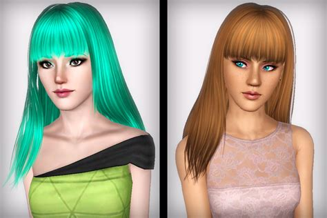 long hair with bangs sims2 straight bangs hairstyle skysims 149 retextured by forever