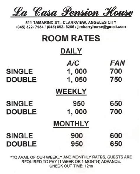room rate room rates picture of la casa pension blue boar inn angeles city tripadvisor