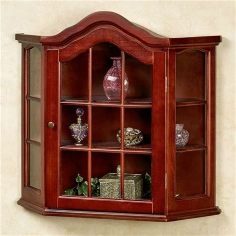 cherry wood curio cabinets aubrie classic cherry wall curio cabinet