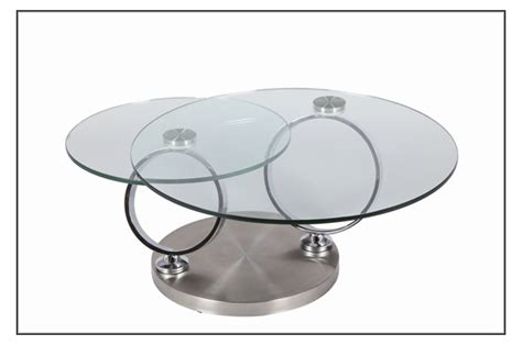 table basse design en verre ronde modulable