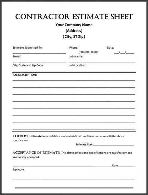 Construction Estimate Form Template Business Free Sle Bid Template