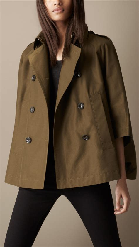 Burberry Brit Short Swing Cape Trench Coat In Brown