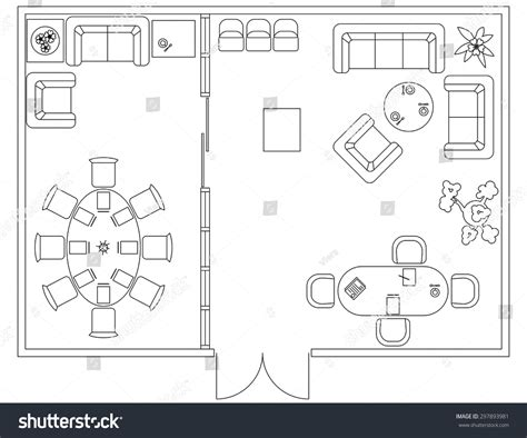 furniture icons for floor plans architectural set furniture design elements floor stock
