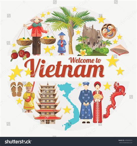 travel vietnam set traditional vietnamese cultural stock