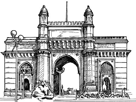 coloring pages of india gate gateway of india mumbai kids portal for parents
