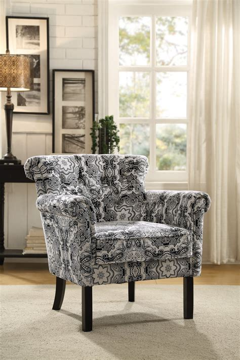 black and white paisley chair homelegance barlowe accent chair black paisley print