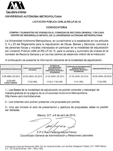 UAM. Universidad Autónoma Metropolitana. Licitaciones.
