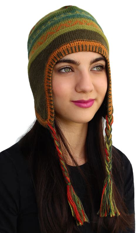 Handmade Beanies - superfine 100 alpaca wool handmade unique chullo ski hat
